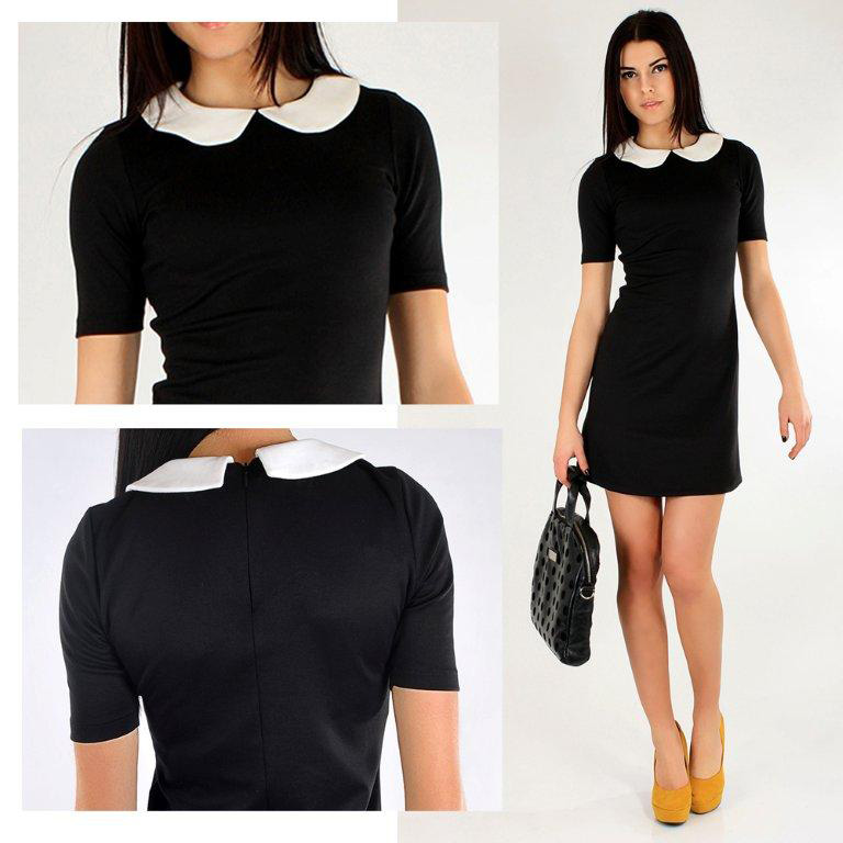 Classic Black Office Dress With Corral Tunic Style Crew Neck