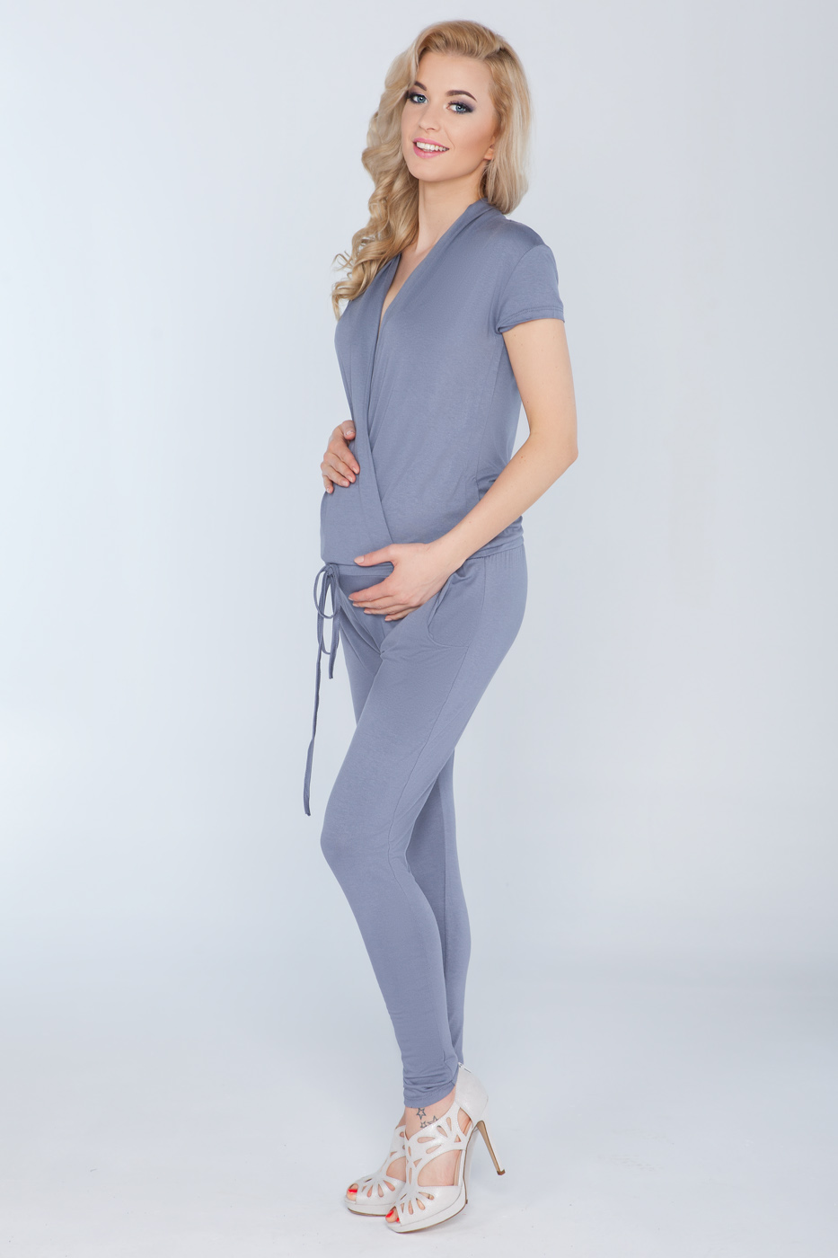 a3a45cde6875 Ladies Maternity Jumpsuit With Pockets V Neck Wrap Playsuit Plus ...
