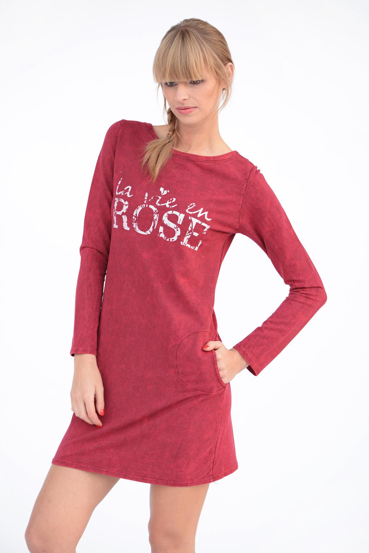 Mujer Vestido Recto Rosa con Bolsillos Cuello Redondo Top Largo ...
