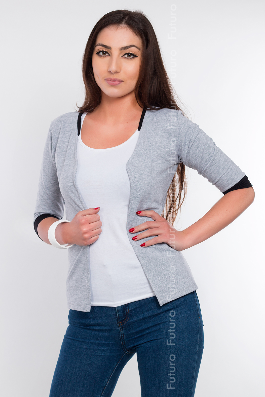 Blazer With Pockets 3//4 Sleeve Cardigan Jacket Shrug Bolero Cuff Sizes 8-16 2501