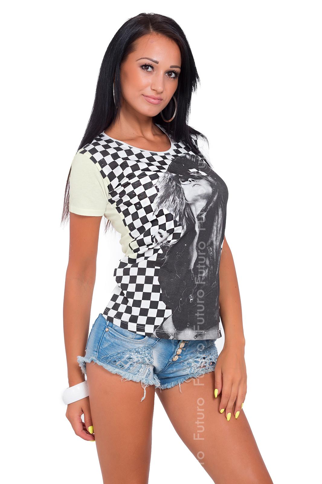 Women/'s Top Trendy Print Scoop Neck Short Sleeve Cotton T-Shirt Sizes 8-14 B02