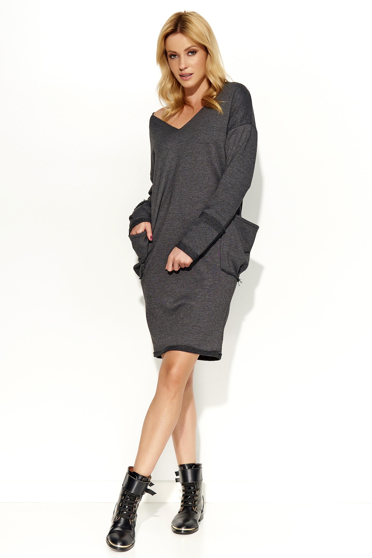 Chic Women/'s Dress Long Sleeve Crew Neck Pocket Office Style Sizes S XL FA343