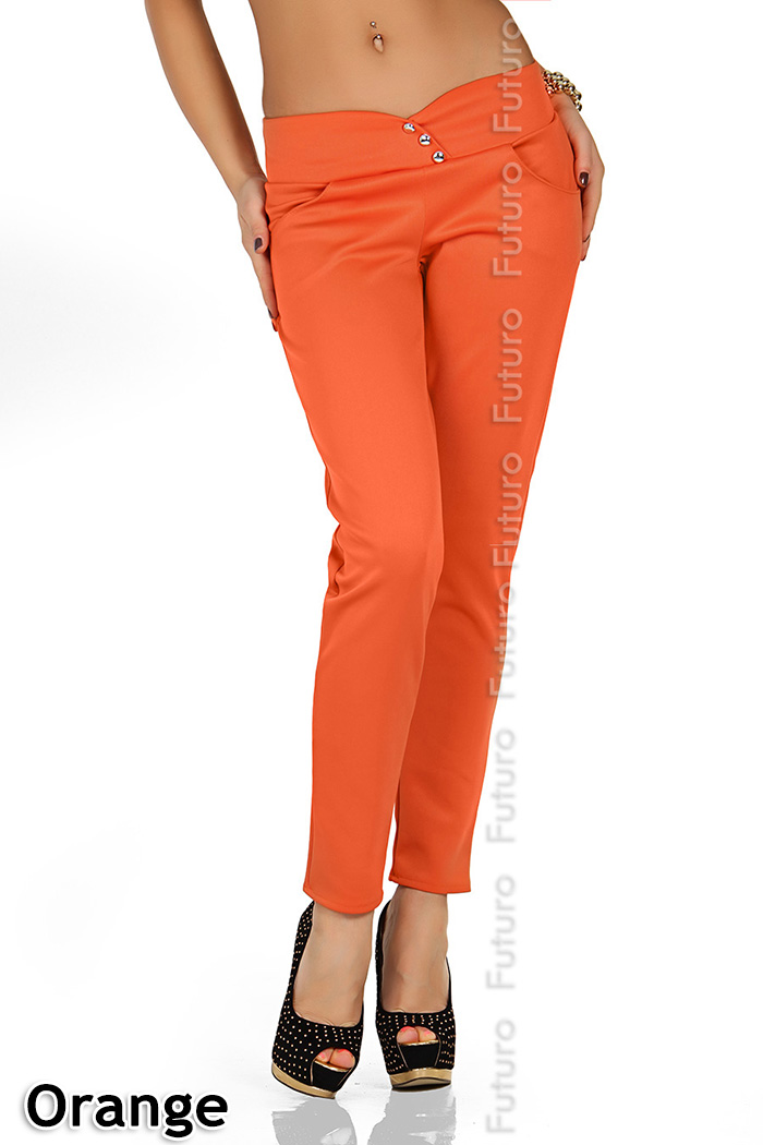 Summer Fashion Trousers with Buttons /& Pocket Stretch New Pants Size 8-12 FK1169
