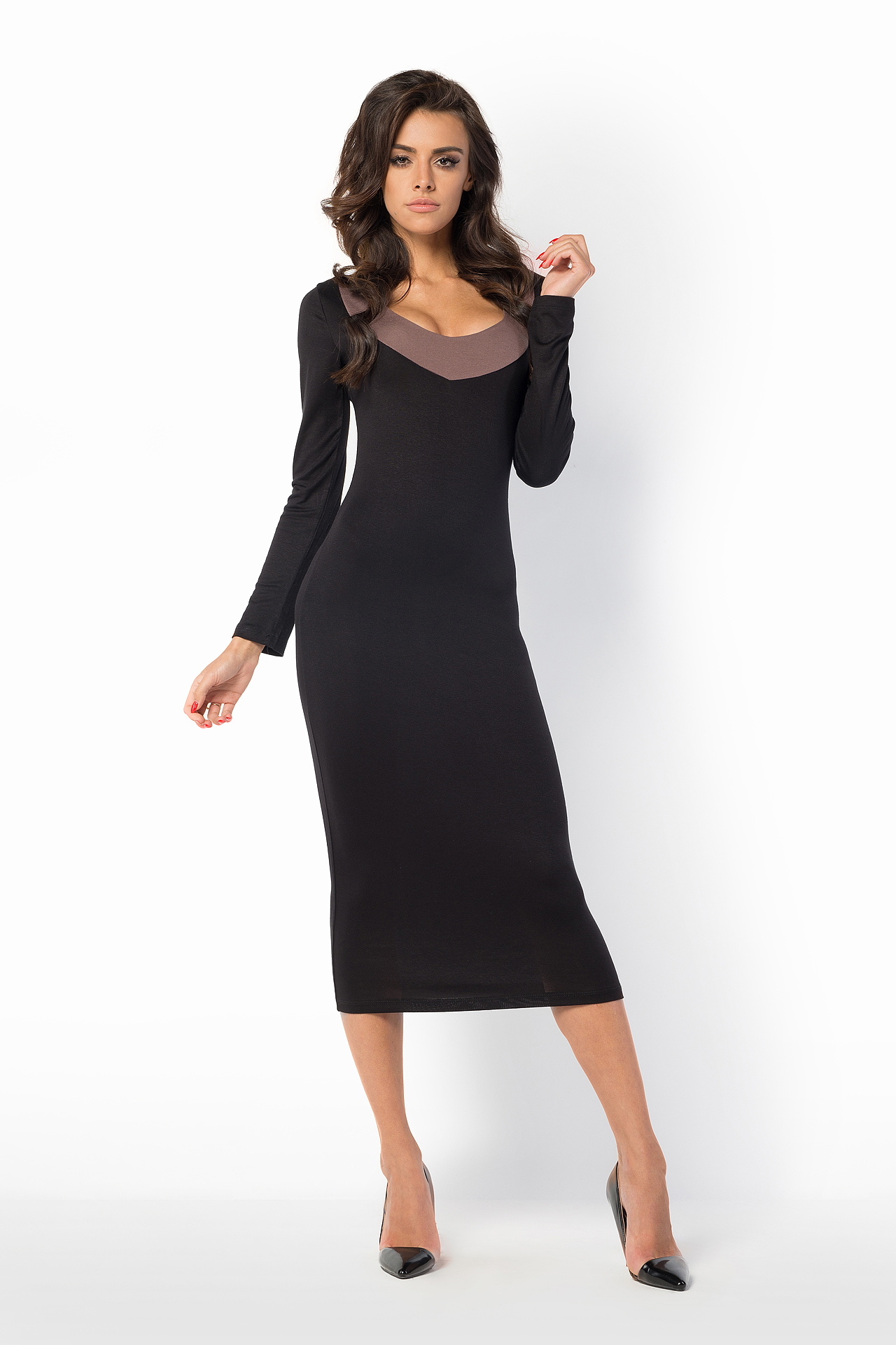 Ladies Evening Party Bodycon Long Sleeve Scoop Neck Fitted