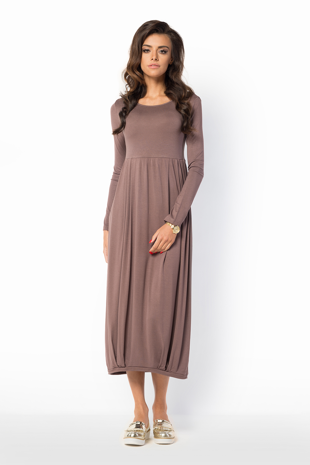 Ladies Loose Fit-and-Flare Crew Neck Long Sleeve Tunic Tea Length Dress FM37