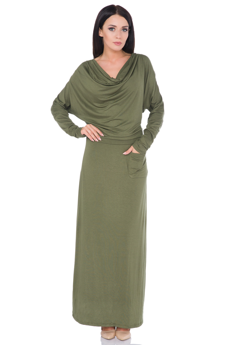 789eb7380456 Ladies Semi-Formal Casual Cowl Neck Batwing Long Sleeve Ankle Length ...