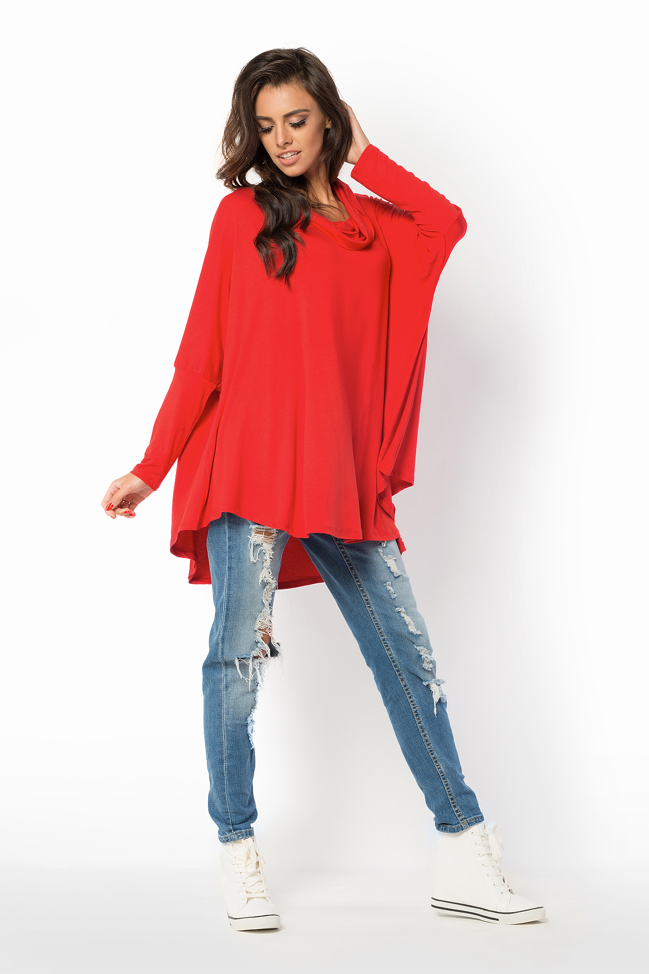 Ladies Baggy Floaty Tunic Oversized Kaftan Cowl Neck Casual Long Sleeve Top FM40