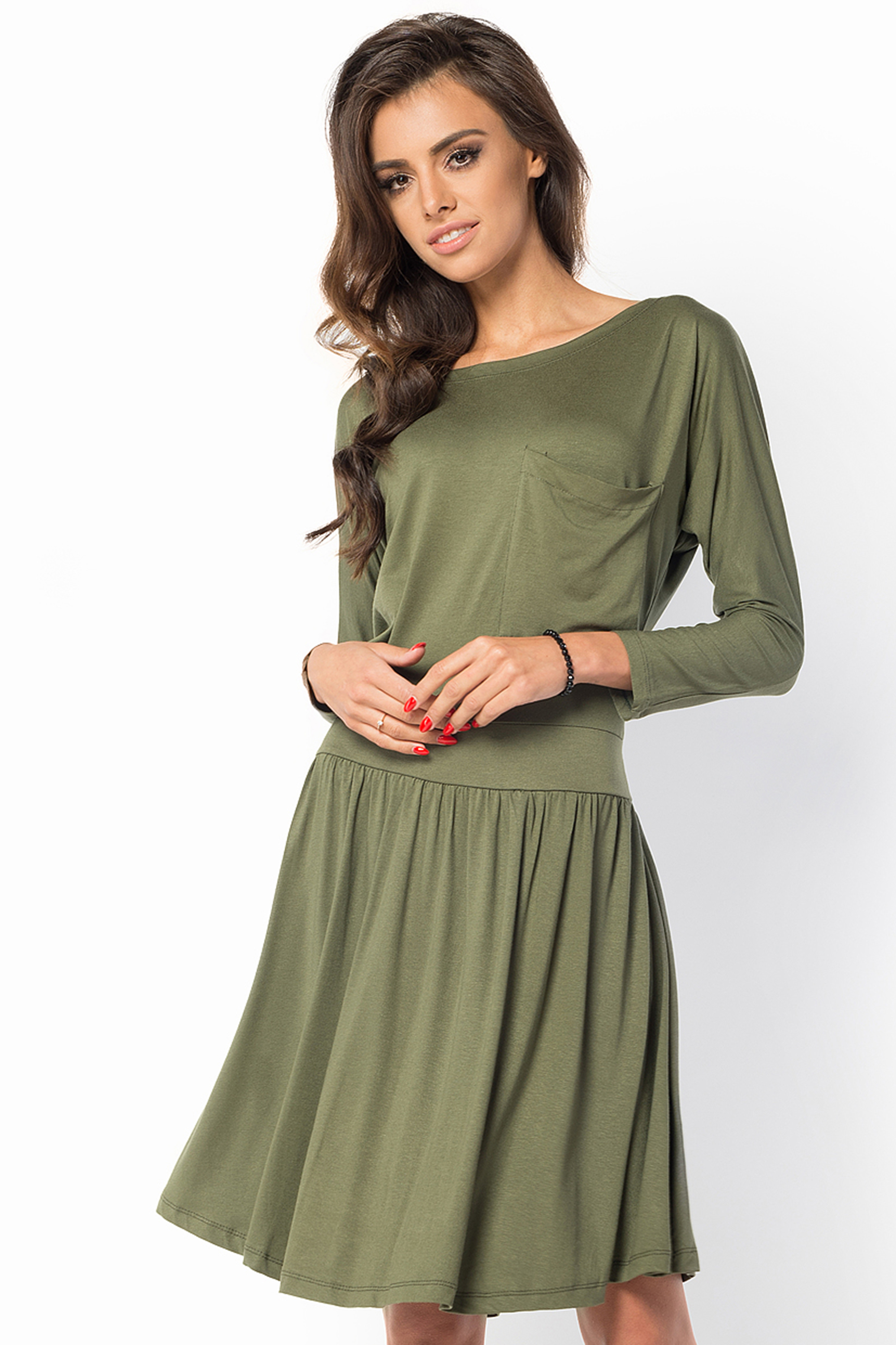 Ladies A-line Girly Casual Long Sleeve Knee Length Boat Neck Skater Dress FM43