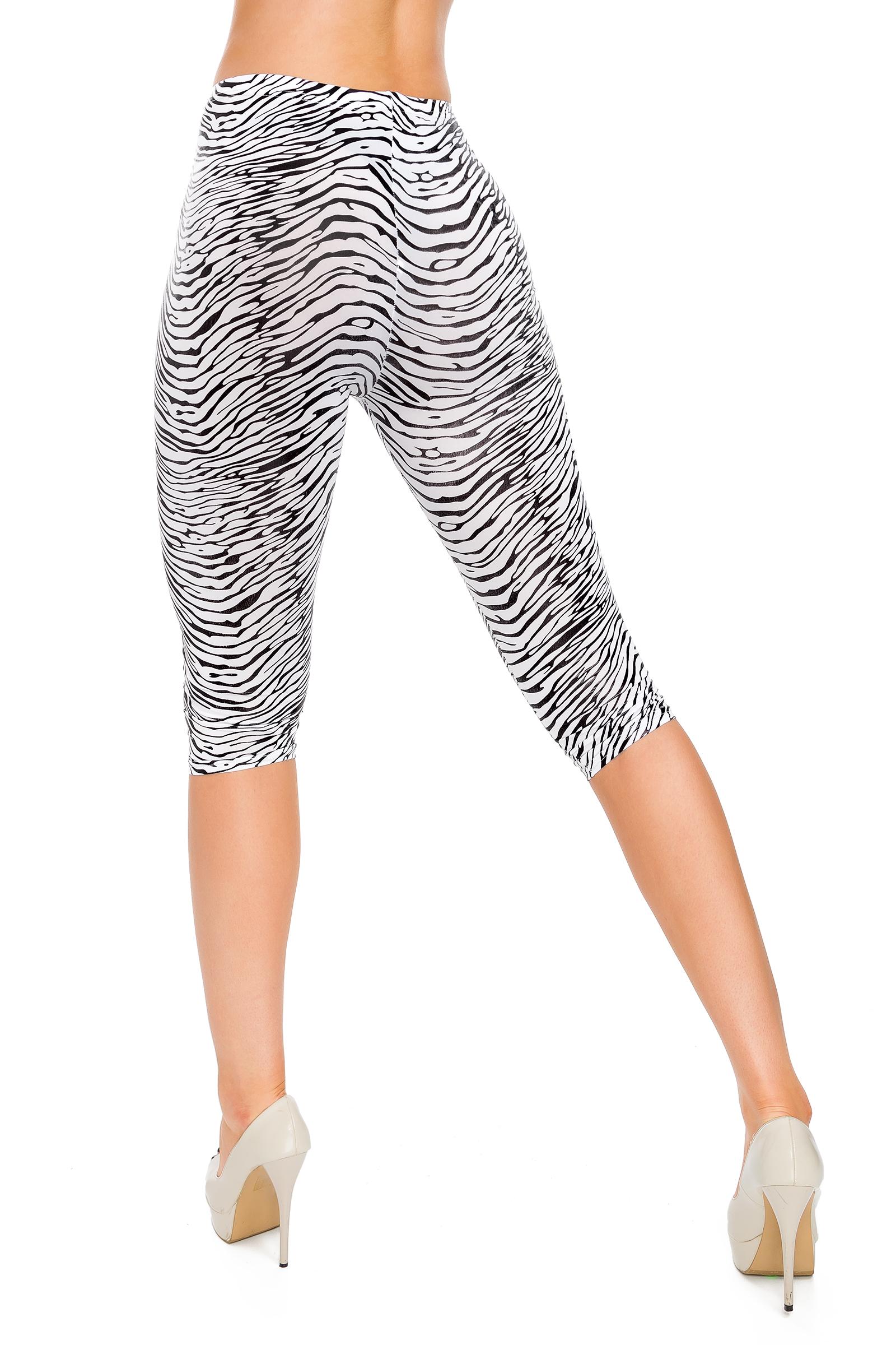 Womens Zebra Print Capri Leggings 3//4 Length Summer Style Pants Mid Waist FS6801