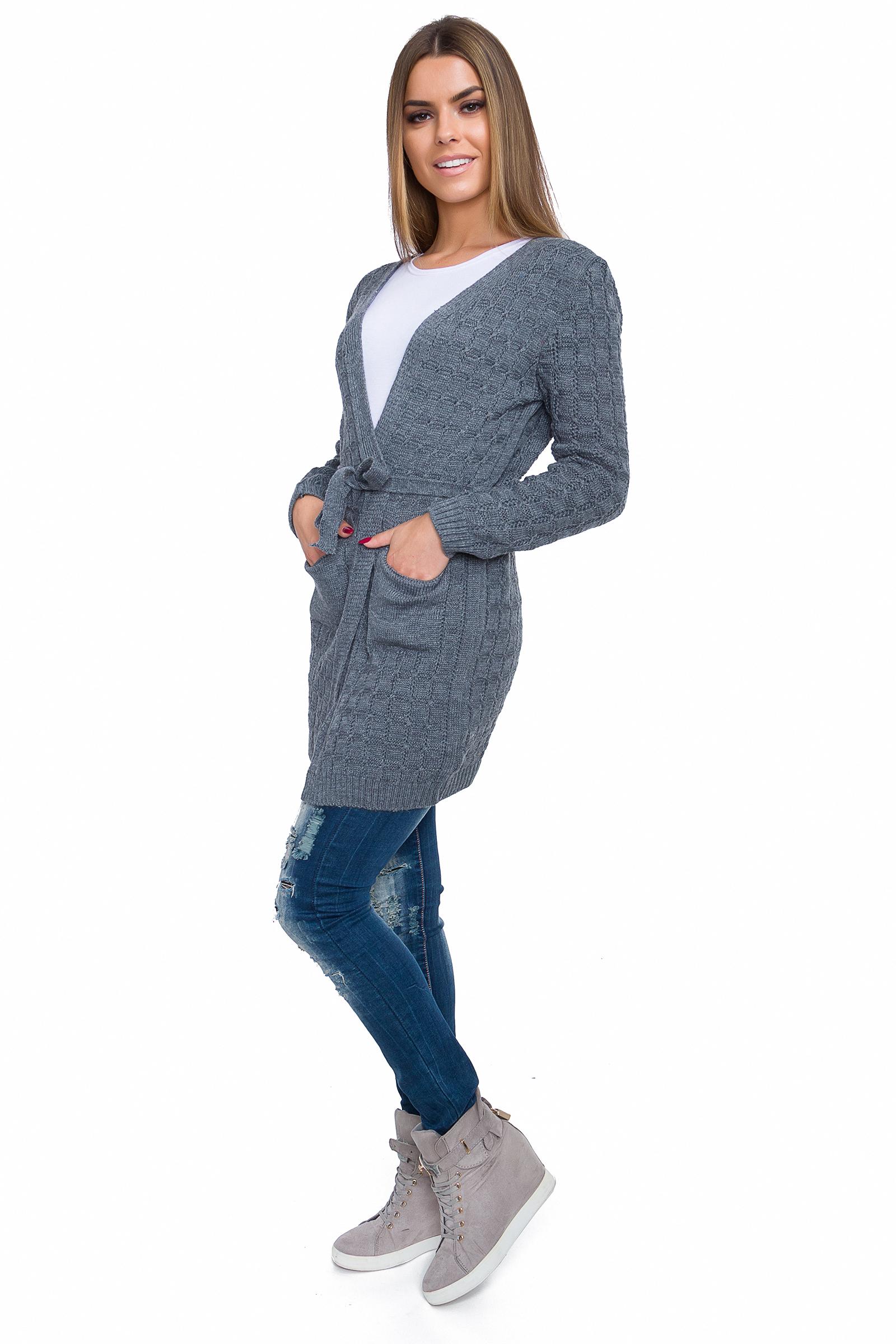 Femme Chaud Cardigan à Manches Longues Chunky Câble Avec Ceinture Et Poches Taille Unique WA82W