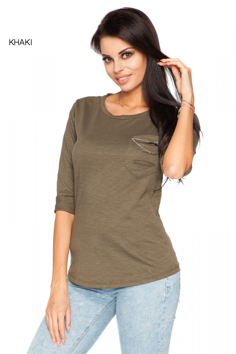 Womens Casual Top With Pocket 3/4 Sleeve Crew Neck T-Shirt ...